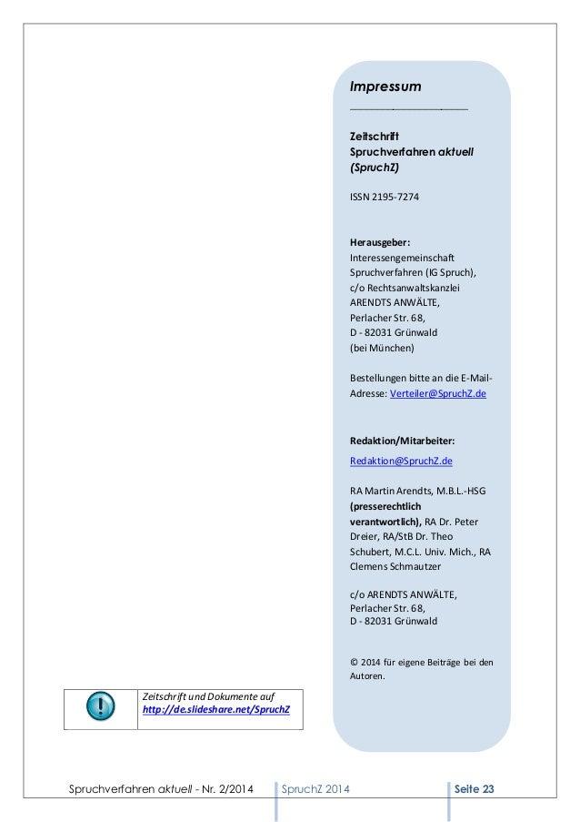 Spruchverfahren aktuell - Nr. 2/2014  SpruchZ 2014 Seite 23  Zeitschrift und Dokumente auf  http://de.slideshare.net/Spruc...