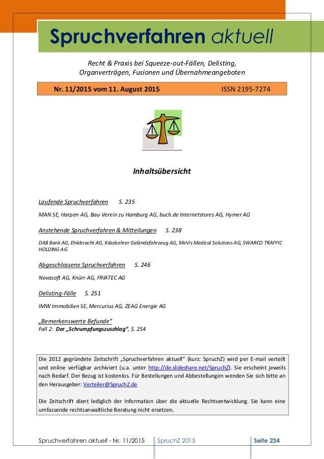 Spruchverfahren aktuell - Nr. 11/2015 SpruchZ 2015 Seite 234 Recht & Praxis bei Squeeze-out-Fällen, Delisting, Organverträ...