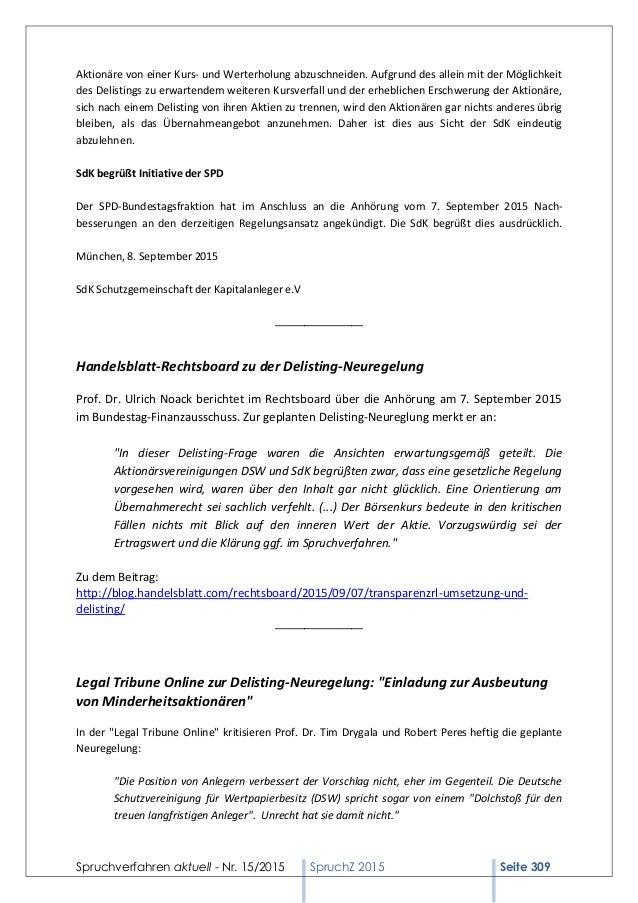 Spruchverfahren aktuell (SpruchZ) Nr. 152015