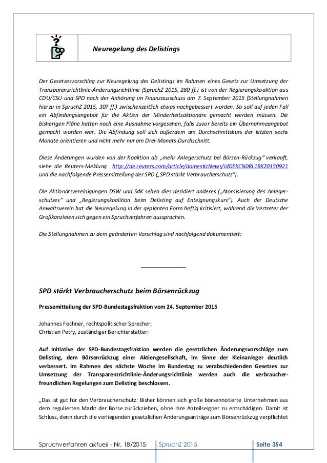 Spruchverfahren aktuell (SpruchZ) Nr. 18/2015 Slide 2