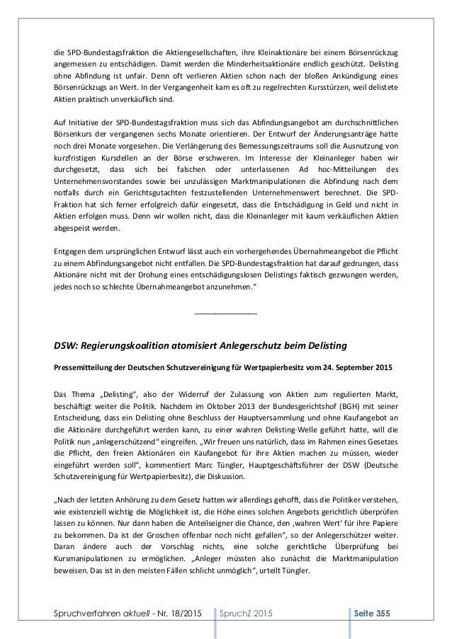 Spruchverfahren aktuell (SpruchZ) Nr. 18/2015 Slide 3