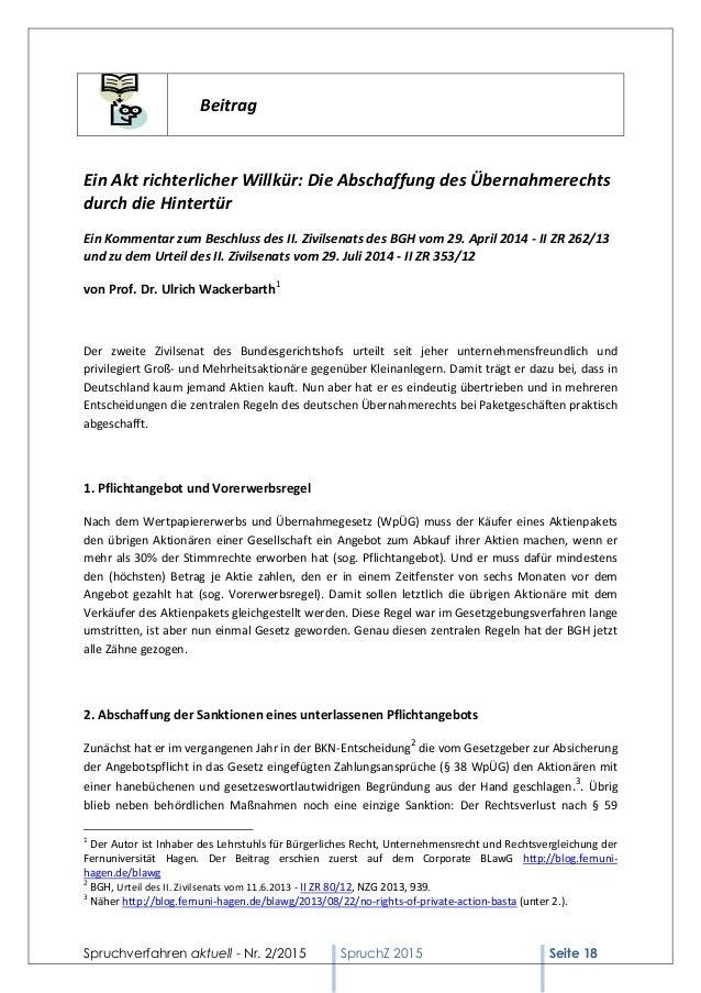 Spruchverfahren aktuell (SpruchZ) Nr. 2/2015 Slide 2