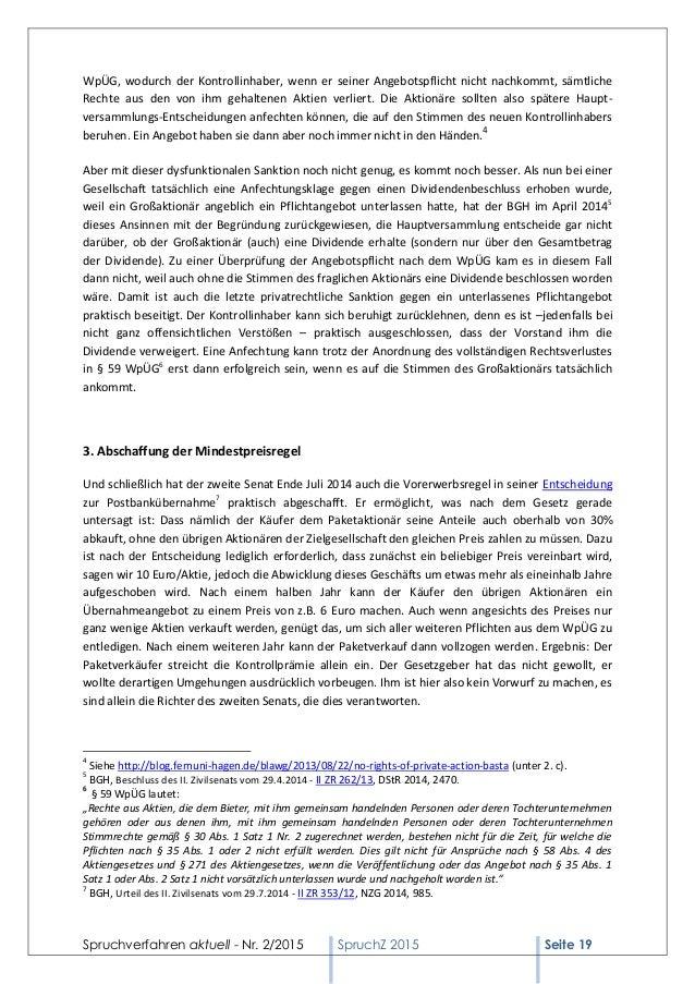 Spruchverfahren aktuell (SpruchZ) Nr. 2/2015 Slide 3