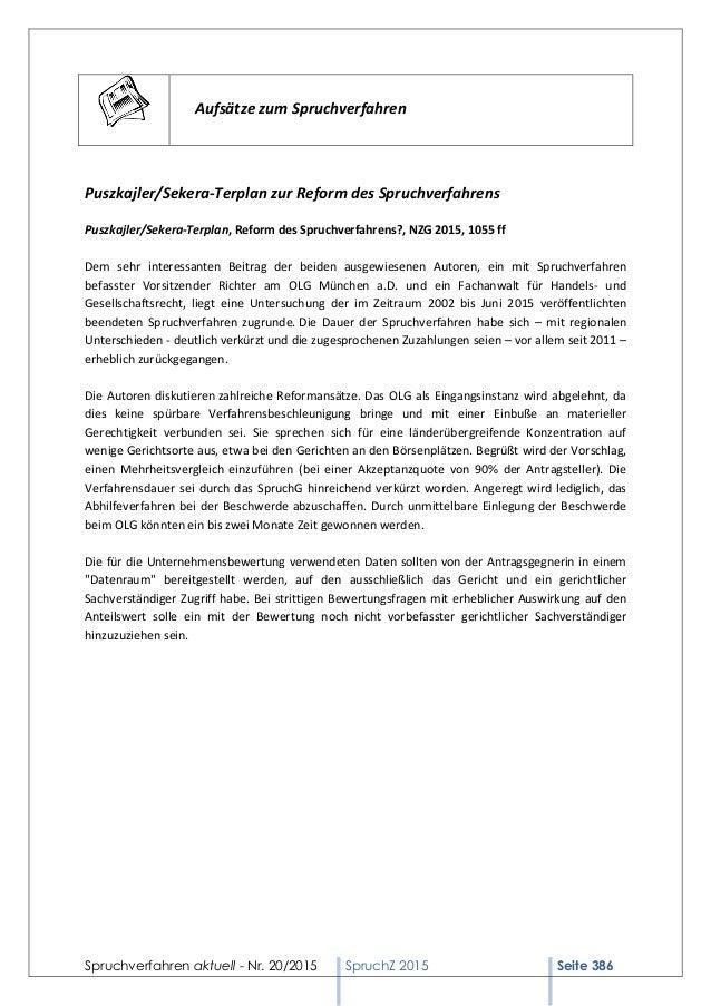 Spruchverfahren aktuell - Nr. 20/2015 SpruchZ 2015 Seite 386 Aufsätze zum Spruchverfahren Puszkajler/Sekera-Terplan zur Re...