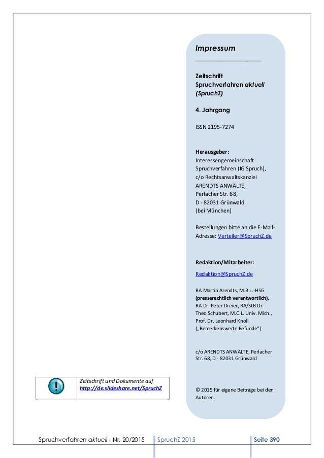 Spruchverfahren aktuell - Nr. 20/2015 SpruchZ 2015 Seite 390 Zeitschrift und Dokumente auf http://de.slideshare.net/Spruch...