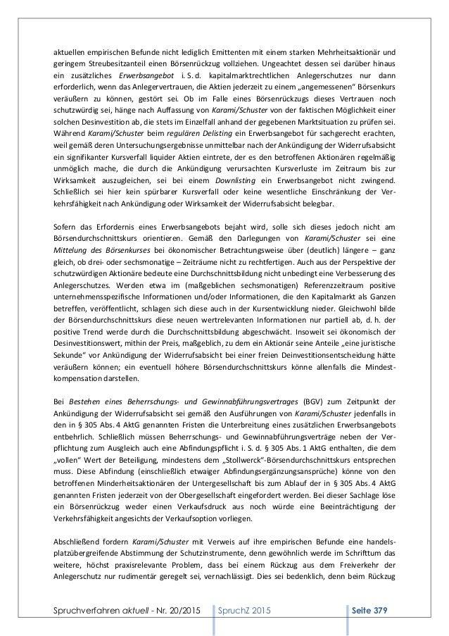 Spruchverfahren aktuell - Nr. 20/2015 SpruchZ 2015 Seite 379 aktuellen empirischen Befunde nicht lediglich Emittenten mit ...