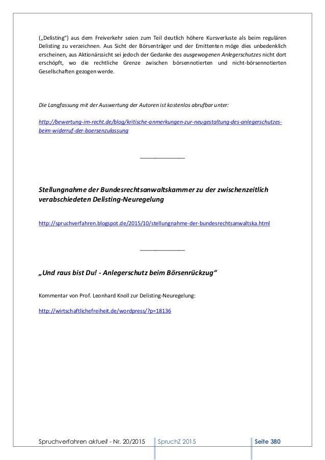 """Spruchverfahren aktuell - Nr. 20/2015 SpruchZ 2015 Seite 380 (""""Delisting"""") aus dem Freiverkehr seien zum Teil deutlich höh..."""