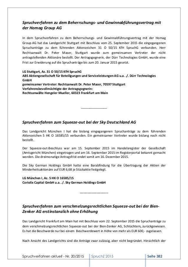 Spruchverfahren aktuell - Nr. 20/2015 SpruchZ 2015 Seite 382 Spruchverfahren zu dem Beherrschungs- und Gewinnabführungsver...