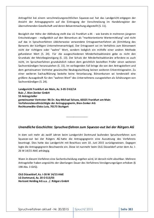 Spruchverfahren aktuell - Nr. 20/2015 SpruchZ 2015 Seite 383 Antragsfrist bei einem verschmelzungsrechtlichen Squeeze-out ...