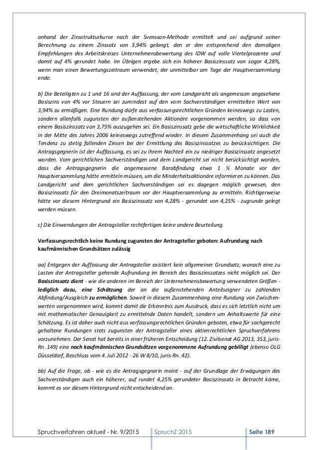 Spruchverfahren aktuell - Nr. 9/2015 SpruchZ 2015 Seite 189 anhand der Zinsstrukturkurve nach der Svensson-Methode ermitte...