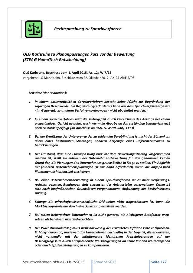 Spruchverfahren aktuell - Nr. 9/2015 SpruchZ 2015 Seite 179 Rechtsprechung zu Spruchverfahren OLG Karlsruhe zu Plananpassu...