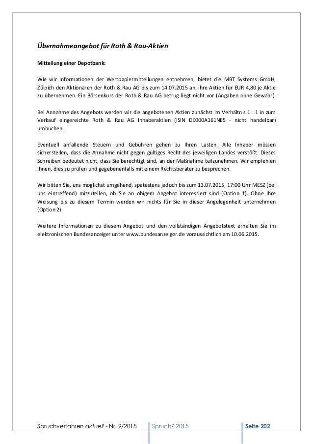 Spruchverfahren aktuell - Nr. 9/2015 SpruchZ 2015 Seite 202 Übernahmeangebot für Roth & Rau-Aktien Mitteilung einer Depotb...
