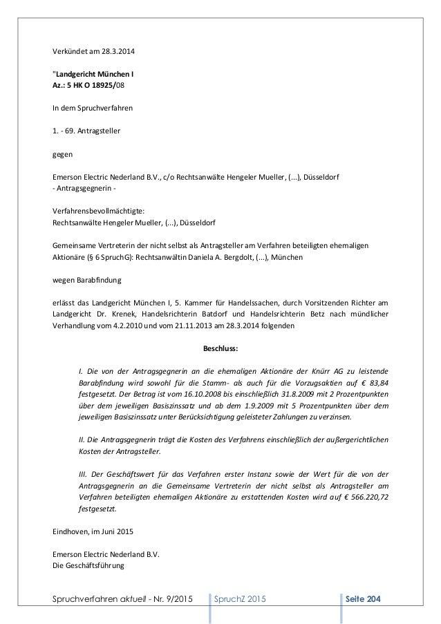 """Spruchverfahren aktuell - Nr. 9/2015 SpruchZ 2015 Seite 204 Verkündet am 28.3.2014 """"Landgericht München I Az.: 5 HK O 1892..."""