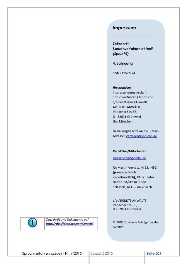 Spruchverfahren aktuell - Nr. 9/2015 SpruchZ 2015 Seite 209 Zeitschrift und Dokumente auf http://de.slideshare.net/SpruchZ...