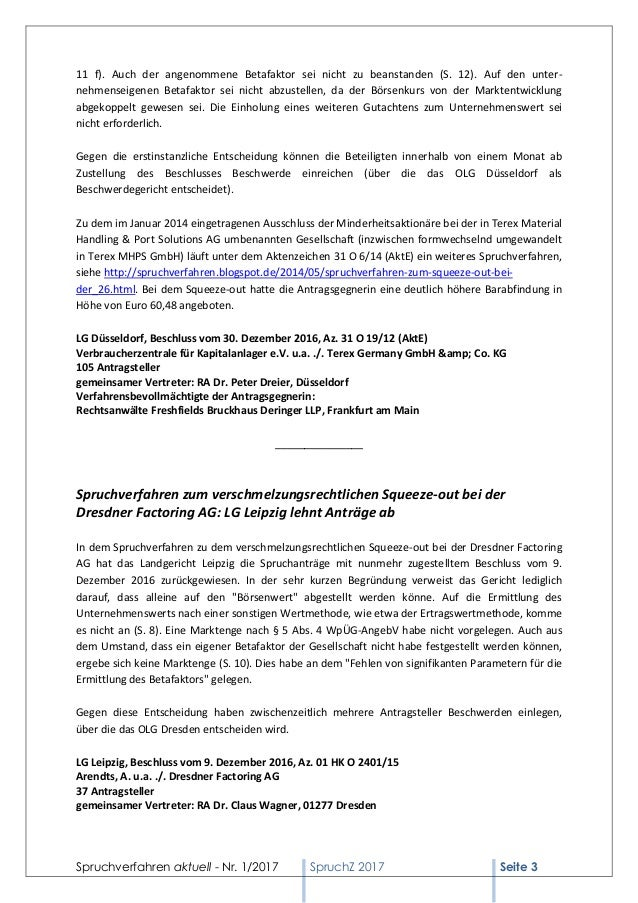 Spruchverfahren aktuell spruchz nr 1 2017 - Terex material handling port solutions ag ...