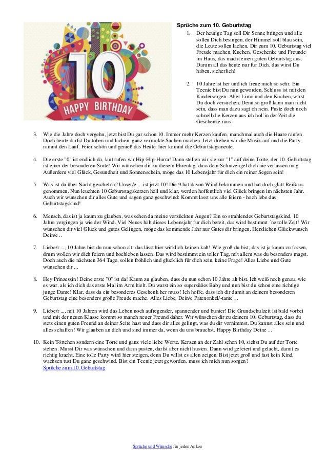 Gluckwunsche 10 geburtstag madchen