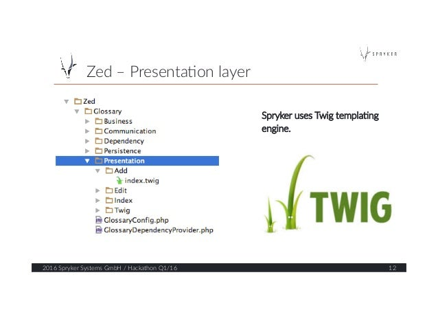 Zed – Presenta?on layer  2016 Spryker Systems GmbH / Hackathon Q1/16  12  Spryker uses Twig templa?ng  eng...
