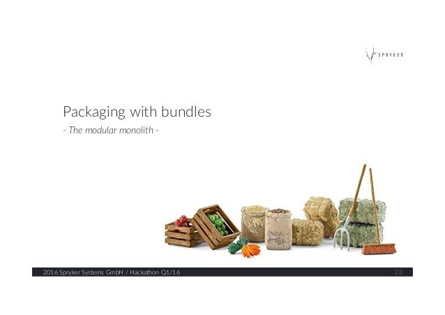 2016 Spryker Systems GmbH / Hackathon Q1/16  22  Packaging with bundles  -‐ The modular monolith -‐