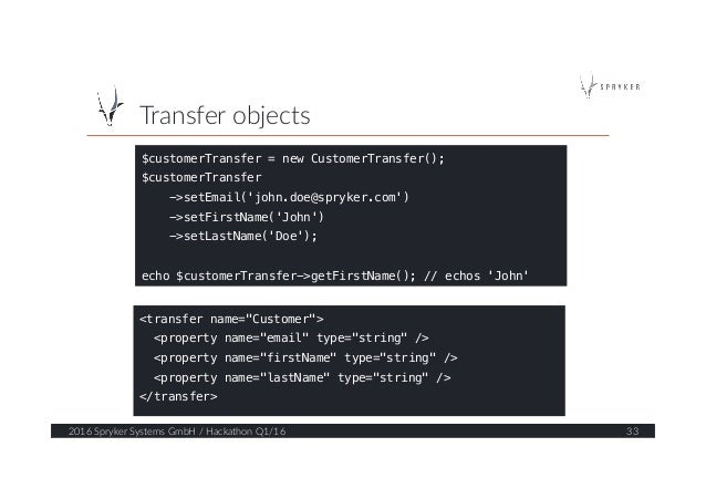 Transfer objects  2016 Spryker Systems GmbH / Hackathon Q1/16  33  $customerTransfer = new CustomerTransfer();! ...