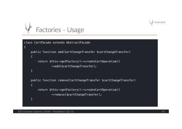 Factories -‐ Usage  2016 Spryker Systems GmbH / Hackathon Q1/16  34  class CartFacade extends AbstractFacade! ...