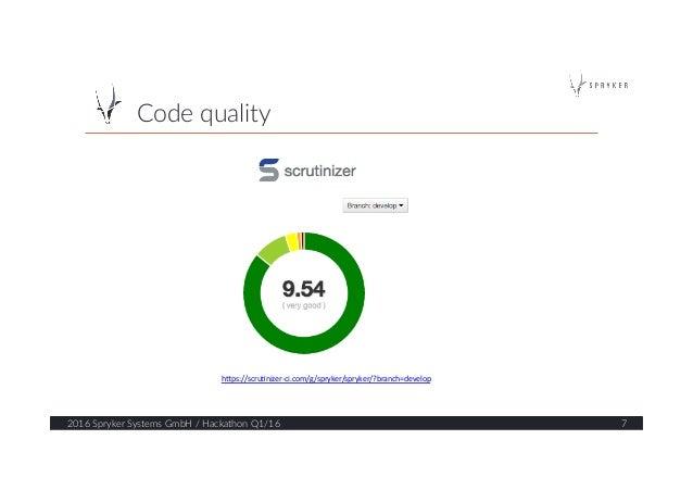 """Code quality  2016 Spryker Systems GmbH / Hackathon Q1/16  7  h""""ps://scru*nizer-‐ci.com/g/spryker/spryker/?bran..."""