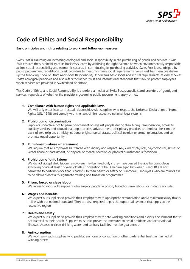 Code of Ethics and Social Responsibility Ausgabedatum 1 / 2 Code of Ethics and Social Responsibility Basic principles and ...