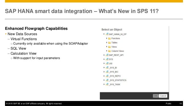 © 2015 SAP SE or an SAP affiliate company. All rights reserved. 10Public SAP HANA smart data integration – What's New in S...