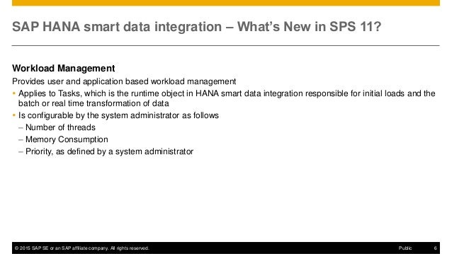 © 2015 SAP SE or an SAP affiliate company. All rights reserved. 6Public SAP HANA smart data integration – What's New in SP...