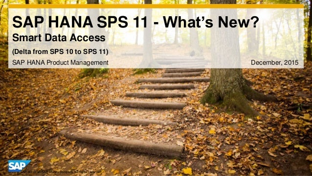 1© 2014 SAP AG or an SAP affiliate company. All rights reserved. SAP HANA SPS 11 - What's New? Smart Data Access SAP HANA ...