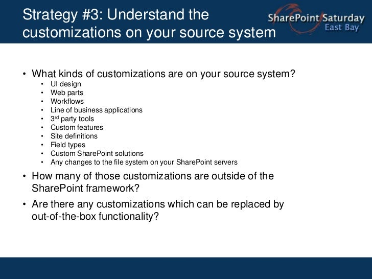Strategy #2: Conduct proper capacity planning <br />Understand your current environment:<br /><ul><li>Number of users