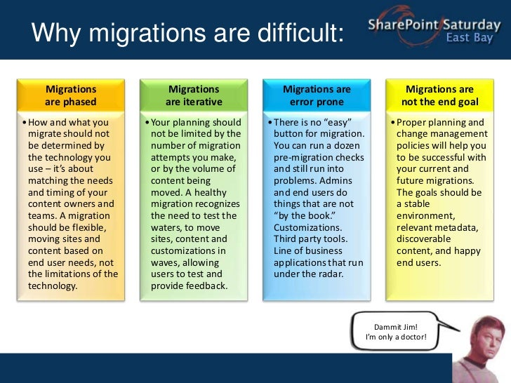 Why migrations are difficult:<br />Dammit Jim! I'm only a doctor!<br />