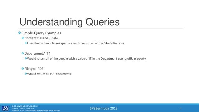SPSBermuda 2013 Understanding Queries Simple Query Examples ContentClass:STS_Site Uses the content classes specificatio...