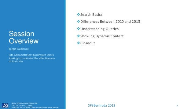SPSBermuda 2013 Session Overview Search Basics Differences Between 2010 and 2013 Understanding Queries Showing Dynamic...