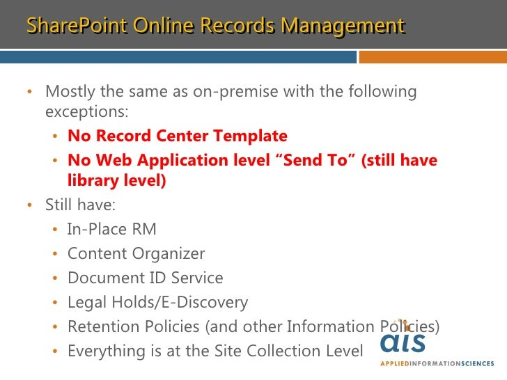 records management in sharepoint 2010 Applies to: sharepoint 2010 in setting up a records center i was  under  permissions and management choose record declaration settings.