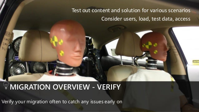 MIGRATION OVERVIEW - VERIFY Verify your migration often to catch any issues early on Test out content and solution for var...