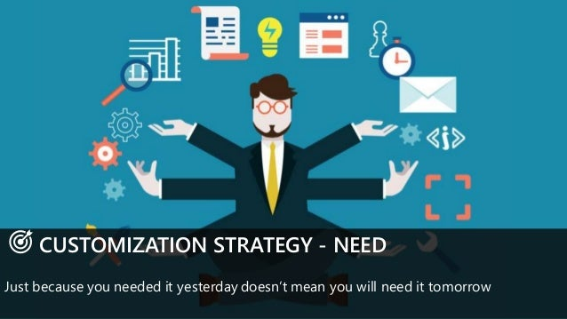 CUSTOMIZATION STRATEGY - NEED Just because you needed it yesterday doesn't mean you will need it tomorrow