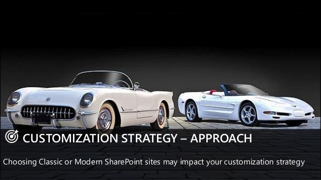 CUSTOMIZATION STRATEGY – APPROACH Choosing Classic or Modern SharePoint sites may impact your customization strategy