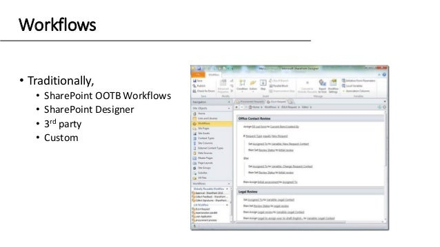 Workflows • Traditionally, • SharePoint OOTB Workflows • SharePoint Designer • 3rd party • Custom