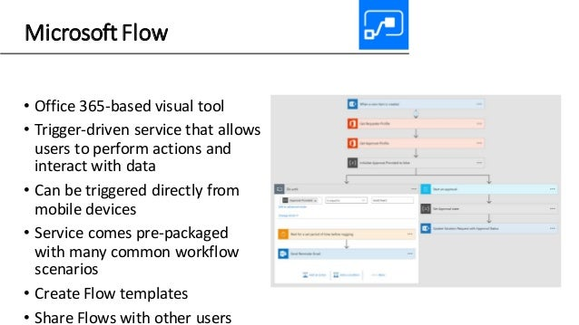 Microsoft Flow • Office 365-based visual tool • Trigger-driven service that allows users to perform actions and interact w...
