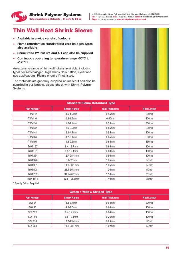 Shrink polymer systems heat cable joints