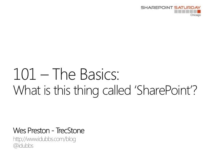 Wes Preston - TrecStone<br />http://www.idubbs.com/blog<br />@idubbs<br />101 – The Basics:What is this thing called 'Shar...