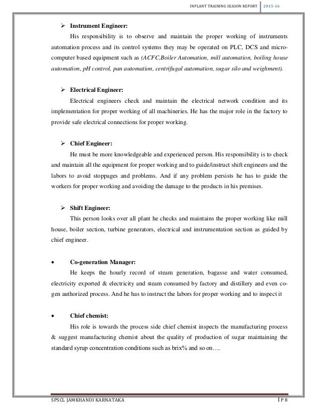 inplant training report essay Guidelines for writing the report of internship activities 8 assess your own strengths, needs, and goals (both short- and long-term) that are relevant.