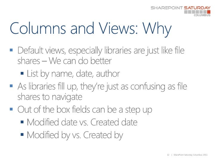Columns and Views: Why<br />Default views, especially libraries are just like file shares – We can do better<br />List by ...