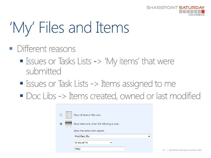 'My' Files and Items<br />Different reasons<br />Issues or Tasks Lists -> 'My items' that were submitted<br />Issues or Ta...