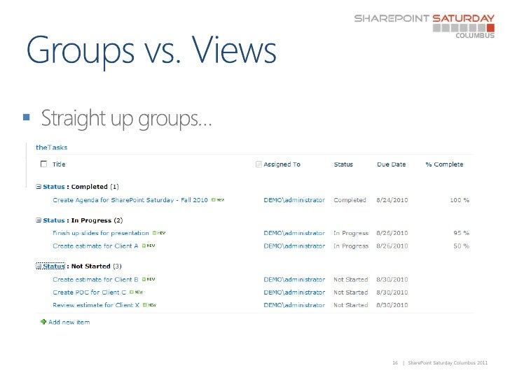 Groups vs. Views<br />Straight up groups… <br />