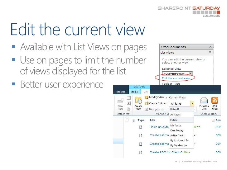 Edit the current view<br />Available with List Views on pages<br />Use on pages to limit the number of views displayed for...