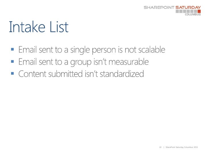 Intake List<br />Email sent to a single person is not scalable<br />Email sent to a group isn't measurable<br />Content su...