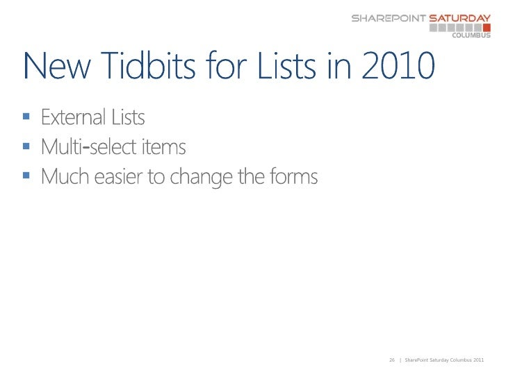 New Tidbits for Lists in 2010<br />External Lists<br />Multi-select items<br />Much easier to change the forms<br />