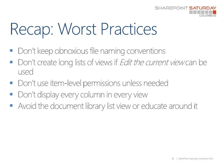 Recap: Worst Practices<br />Don't keep obnoxious file naming conventions<br />Don't create long lists of views if Edit the...