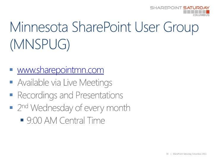 Minnesota SharePoint User Group (MNSPUG)<br />www.sharepointmn.com<br />Available via Live Meetings<br />Recordings and Pr...